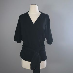 GAP Black Wrap Short Sleeve Top Medium